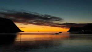 Solnedgang fra moloen
